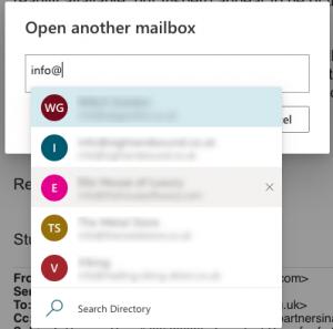 Choose a mailbox dialog