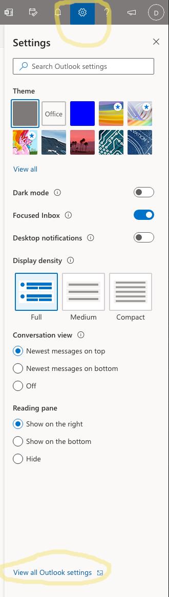 Outlook Settings panel